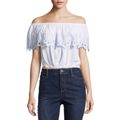 Self Esteem Short Sleeve Gauze Dress Shirt-Juniors