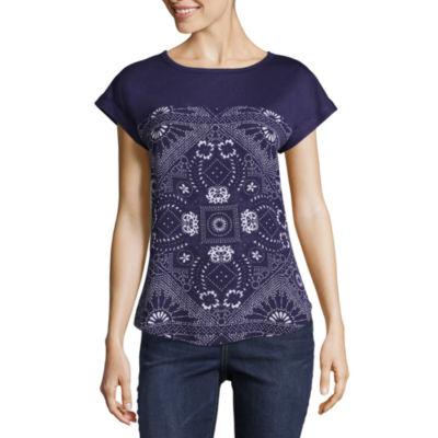Rewind Short Sleeve Round Neck Abstract T-Shirt-Womens Juniors