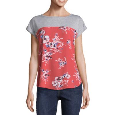 Rewind Short Sleeve Round Neck Floral T-Shirt-Womens Juniors