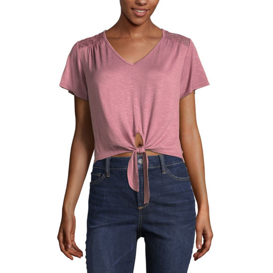 Cut And Paste Short Sleeve U Neck T-Shirt-Womens Juniors