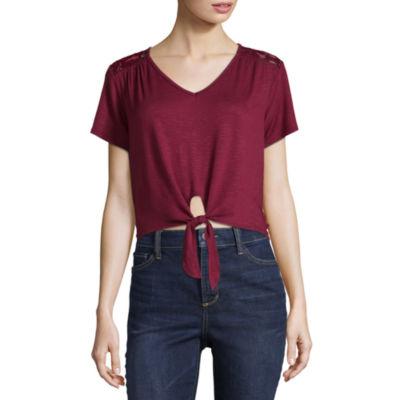 Cut And Paste Short Sleeve U Neck T-Shirt-Womens Juniors