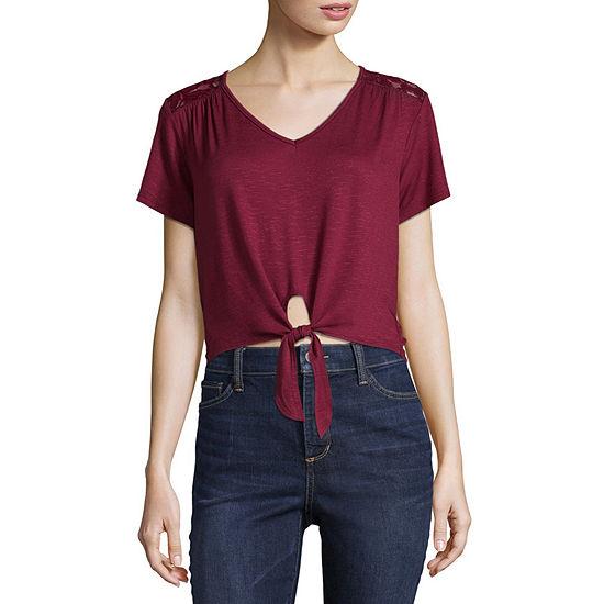Cut And Paste-Womens U Neck Short Sleeve T-Shirt Juniors