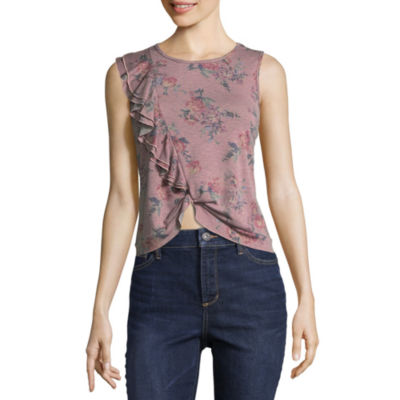 Cut And Paste Short Sleeve Scoop Neck Jersey Blouse-Juniors