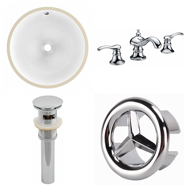 15.25-in. W CUPC Round Undermount Sink Set In White - Chrome Hardware With 3H8-in. CUPC Faucet - Overflow Drain Included