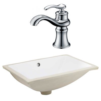 20.75-in. W CSA Rectangle Undermount Sink Set In White - Chrome Hardware With 1 Hole CUPC Faucet