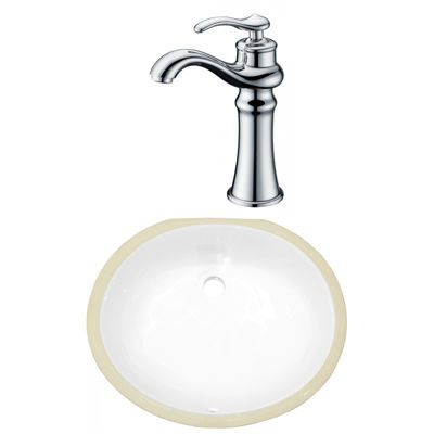 16.5-in. W CSA Oval Undermount Sink Set In White -Chrome Hardware With Deck Mount CUPC Faucet