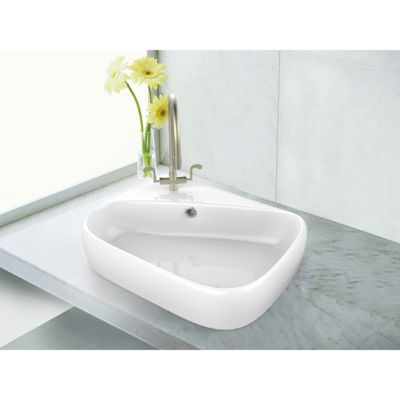17.5-in. W Above Counter White Vessel Set For 1 Hole Left  Faucet - Faucet Included