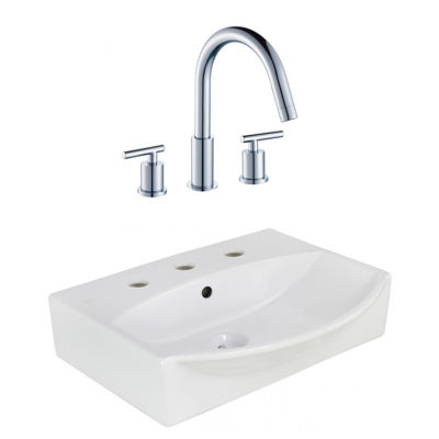 19.5-in. W Above Counter White Vessel Set For 3H8-in. Center Faucet - Faucet Included