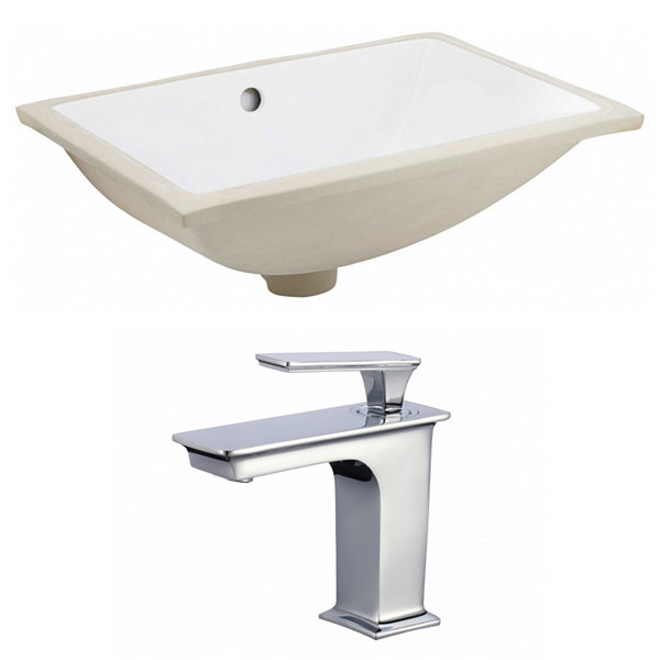 18.25-in. W CUPC Rectangle Undermount Sink Set InWhite - Chrome Hardware With 1 Hole CUPC Faucet