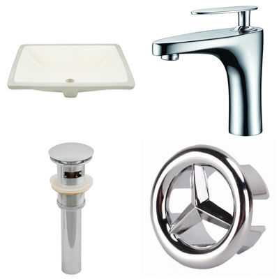 18.25-in. W CUPC Rectangle Undermount Sink Set InBiscuit - Chrome Hardware With 1 Hole CUPC Faucet- Overflow Drain Included