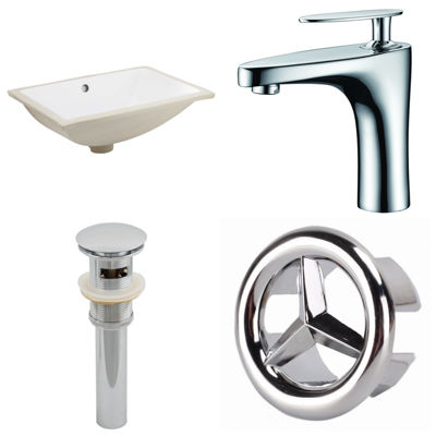 20.75-in. W CUPC Rectangle Undermount Sink Set InWhite - Chrome Hardware With 1 Hole CUPC Faucet -Overflow Drain Included