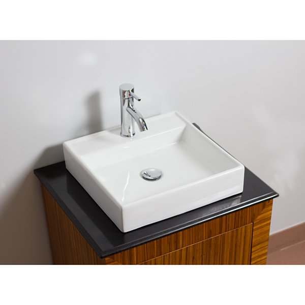 17.5-in. W Above Counter White Vessel Set For 1 Hole Center Faucet - Faucet Included