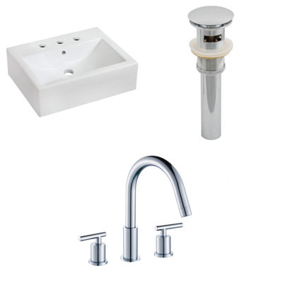 20.25-in. W Wall Mount White Vessel Set For 3H8-in. Center Faucet - Faucet Included