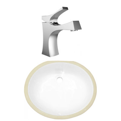 18.25-in. W CSA Oval Undermount Sink Set In White- Chrome Hardware With 1 Hole CUPC Faucet