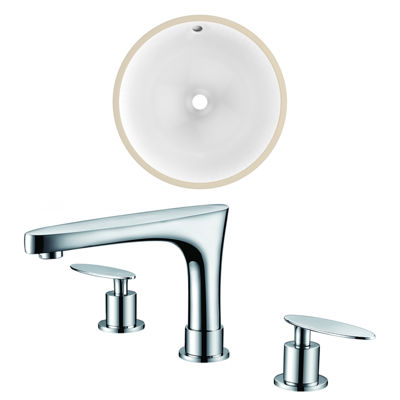 15.25-in. W Round Undermount Sink Set In White - Chrome Hardware With 3H8-in. CUPC Faucet