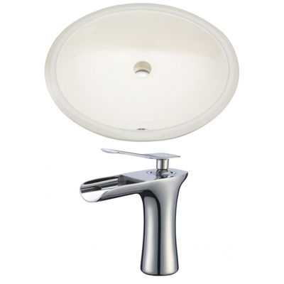 19.75-in. W Oval Undermount Sink Set In Biscuit -Chrome Hardware With 1 Hole CUPC Faucet