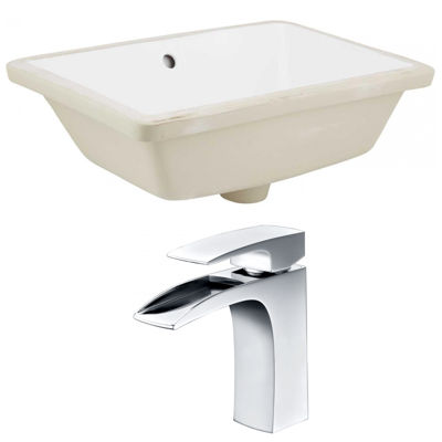 18.25-in. W Rectangle Undermount Sink Set In White- Chrome Hardware With 1 Hole CUPC Faucet