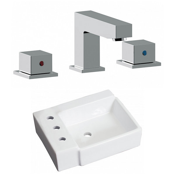 16.25-in. W Wall Mount White Vessel Set For 3H8-in. Left  Faucet - Faucet Included