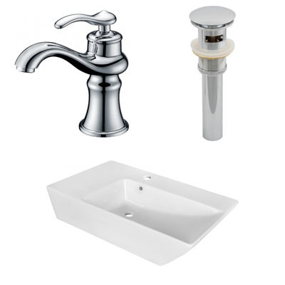 25.5-in. W Above Counter White Vessel Set For 1 Hole Center Faucet - Faucet Included