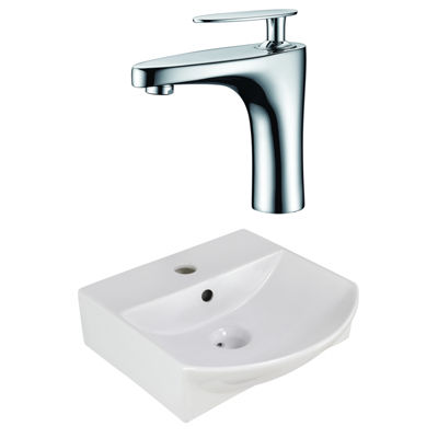 American Imaginations 13.75-In. W Wall Mount White Vessel Set For 1 Hole Center Faucet - Faucet Included
