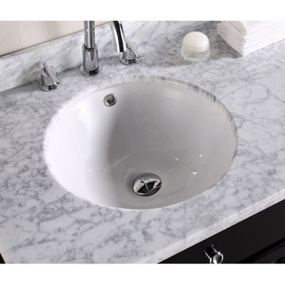 15.75-in. W CUPC Round Undermount Sink Set In White - Chrome Hardware With Deck Mount CUPC Faucet