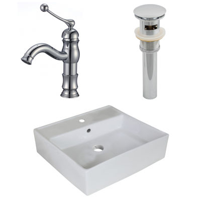 18-in. W Above Counter White Vessel Set For 1 HoleCenter Faucet - Faucet Included