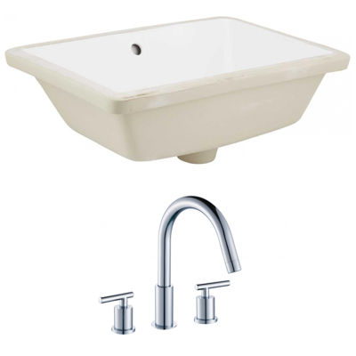 18.25-in. W Rectangle Undermount Sink Set In White- Chrome Hardware With 3H8-in. CUPC Faucet