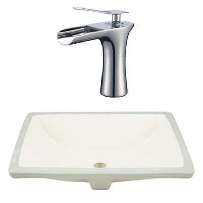 20.75-in. W CSA Rectangle Undermount Sink Set In Biscuit - Chrome Hardware With 1 Hole CUPC Faucet