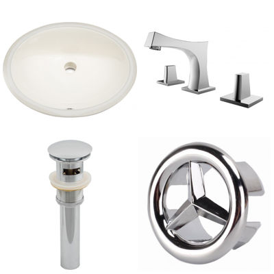 19.5-in. W CUPC Oval Undermount Sink Set In Biscuit - Chrome Hardware With 3H8-in. CUPC Faucet - Overflow Drain Included