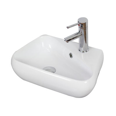 17.5-in. W Above Counter White Vessel Set For 1 Hole Right Faucet - Faucet Included