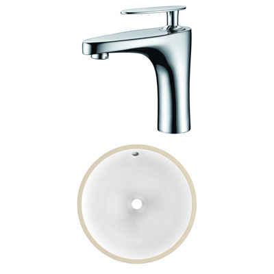 15-in. W CSA Round Undermount Sink Set In White -Chrome Hardware With 1 Hole CUPC Faucet