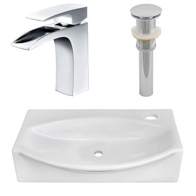 American Imaginations 16.5-in. W Wall Mount White Vessel Set For 1 Hole Right Faucet - Faucet Included