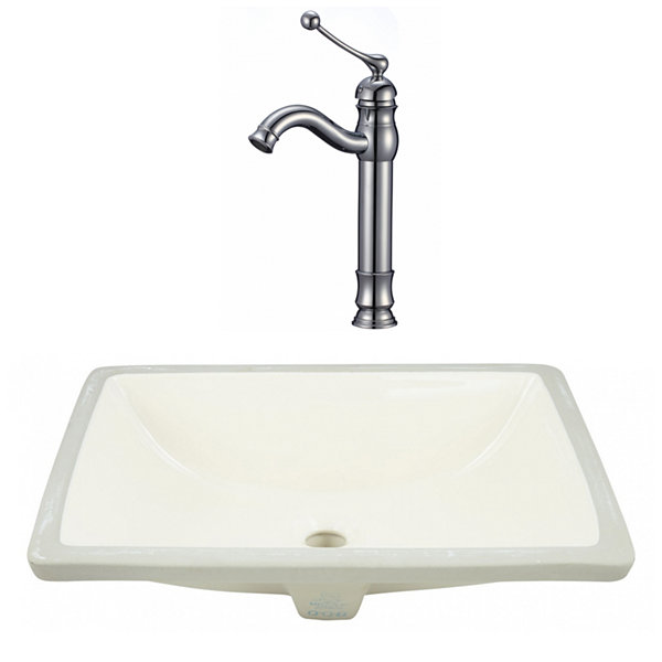 20.75-in. W CSA Rectangle Undermount Sink Set In Biscuit - Chrome Hardware With Deck Mount CUPC Faucet