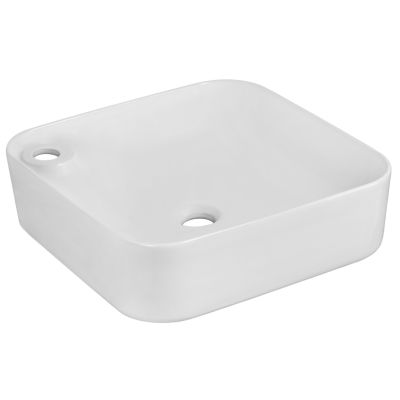 17-in. W Above Counter White Vessel For 1 Hole Left  Drilling