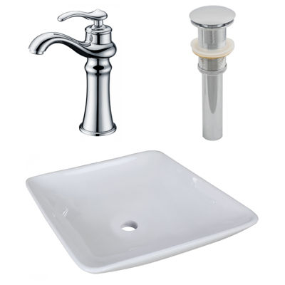 16.75-in. W Above Counter White Vessel Set For Deck Mount Drilling - Faucet Included