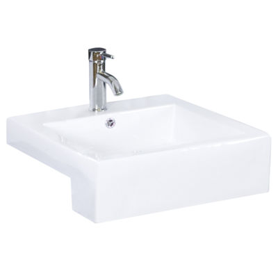 20.25-in. W Semi-Recessed White Vessel Set For 1 Hole Center Faucet - Faucet Included