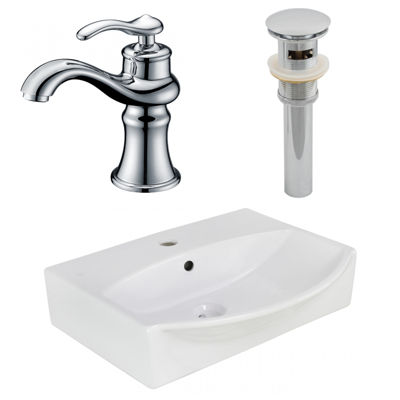 19.5-in. W Wall Mount White Vessel Set For 1 Hole Center Faucet - Faucet Included