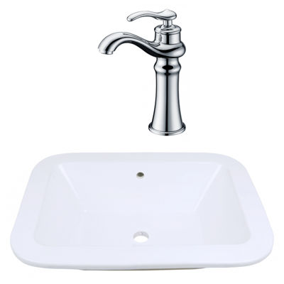 21.75-in. W Undermount White Vessel Set For Deck Mount Drilling - Faucet Included