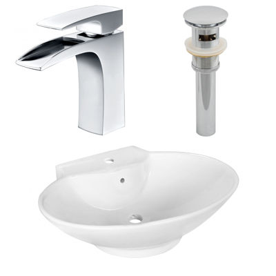 22.75-in. W Above Counter White Vessel Set For 1 Hole Center Faucet - Faucet Included