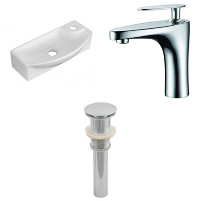 17.75-in. W Above Counter White Vessel Set For 1 Hole Right Faucet - Faucet Included