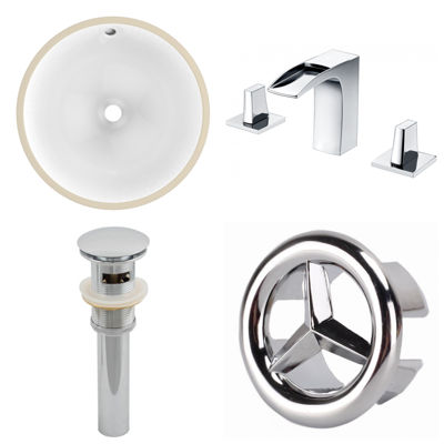 16.5-in. W CUPC Round Undermount Sink Set In White- Chrome Hardware With 3H8-in. CUPC Faucet - Overflow Drain Included