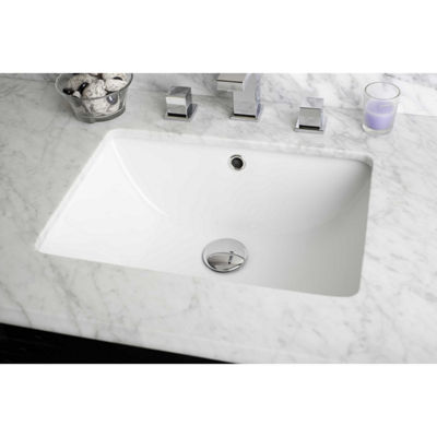 18.25-in. W CUPC Rectangle Undermount Sink Set InWhite - Chrome Hardware With 1 Hole CUPC Faucet -Overflow Drain Included