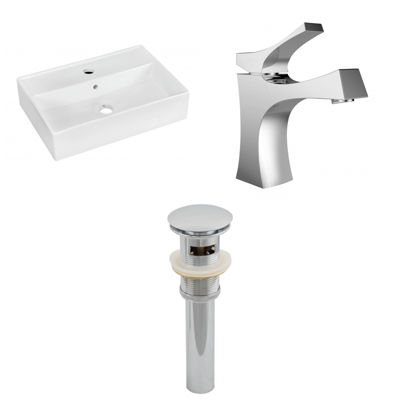 19.75-in. W Wall Mount White Vessel Set For 1 HoleCenter Faucet - Faucet Included