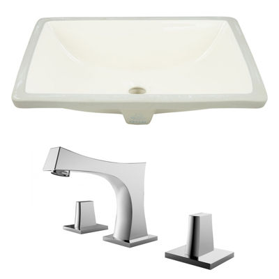 20.75-in. W Rectangle Undermount Sink Set In Biscuit - Chrome Hardware With 3H8-in. CUPC Faucet