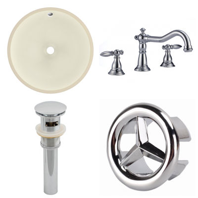 15.5-in. W CUPC Round Undermount Sink Set In Biscuit - Chrome Hardware With 3H8-in. CUPC Faucet - Overflow Drain Included