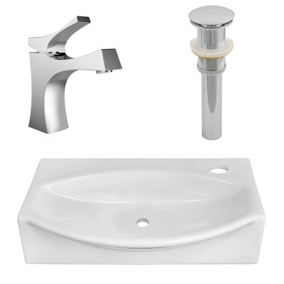 American Imaginations 16.5-in. W Above Counter White Vessel Set For 1 Hole Right Faucet - Faucet Included