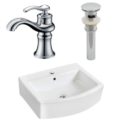 22.25-in. W Above Counter White Vessel Set For 1 Hole Center Faucet - Faucet Included