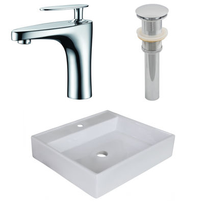 17-in. W Above Counter White Vessel Set For 1 HoleCenter Faucet - Faucet Included