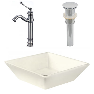 15.75-in. W Above Counter Biscuit Vessel Set For Deck Mount Drilling - Faucet Included