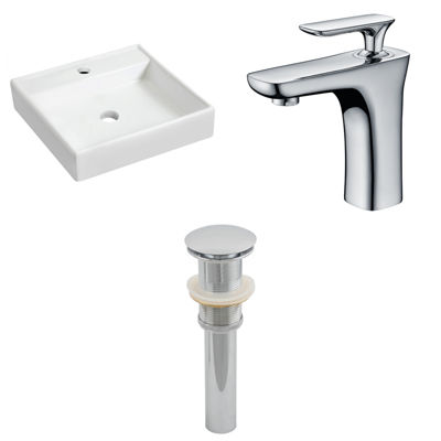 17.5-in. W Wall Mount White Vessel Set For 1 HoleCenter Faucet - Faucet Included